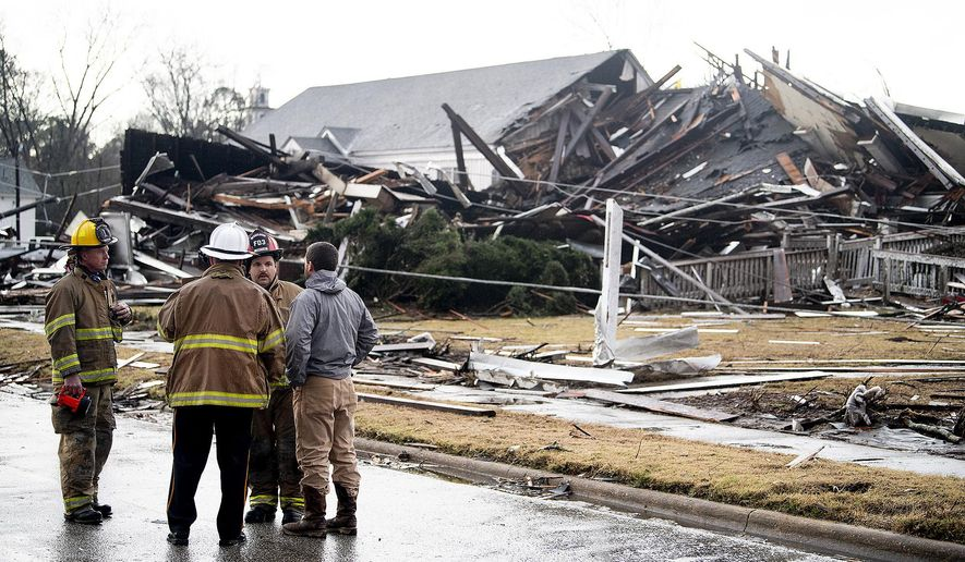 The remains of the damaged historic First Presbyterian Church in Wetumpka, Ala., is seen after a possible tornado on Saturday, Jan. 19, 2019. (Mickey Welsh/The Montgomery Advertiser via AP)