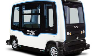 This undated photo provided by EasyMile shows a driverless public shuttle vehicle. It's being tested by the Utah Department of Transportation and is scheduled to debut in February 2019 at the state Capitol before making a tour around the state, The Salt Lake Tribune reports. (EasyMile via AP)