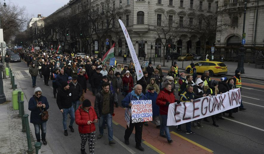 Demonstrators carry a banner reading 'We are fed up' as they protest against the recent amendments to the labour code, dubbed 'slave law' by opposition forces, in downtown Budapest, Hungary, Saturday, Jan. 19, 2019. (Zoltan Balogh/MTI via AP)