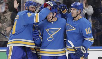 St. Louis Blues' Vince Dunn, center, is congratulated by teammates Robert Bortuzzo (41) and Brayden Schenn (10) after he scored a goal during the second period of an NHL hockey game against the Ottawa Senators, Saturday, Jan. 19, 2019, in St. Louis. (AP Photo/Tom Gannam)
