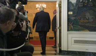 President Donald Trump departs after speaking about the partial government shutdown, immigration and border security in the Diplomatic Reception Room of the White House, in Washington, Saturday, Jan. 19, 2019.(AP Photo/Alex Brandon)