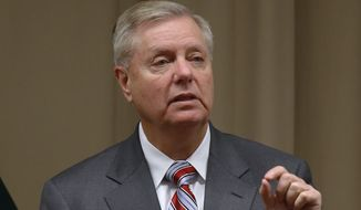 U.S. Republican Sen. Lindsey Graham gives a press conference at the U.S. Embassy after meeting with Pakistani Prime Minister Imran Khan, in Islamabad, Pakistan, Sunday, Jan. 20, 2019. U.S. peace envoy Zalmay Khalilzad concluded his four-day visit to Pakistan, Sunday. (AP Photo/Anjum Naveed) ** FILE **
