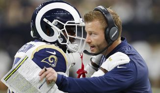Los Angeles Rams head coach Sean McVay speaks with C.J. Anderson during the first half of the NFL football NFC championship game against the New Orleans Saints, Sunday, Jan. 20, 2019, in New Orleans. (AP Photo/John Bazemore) ** FILE **
