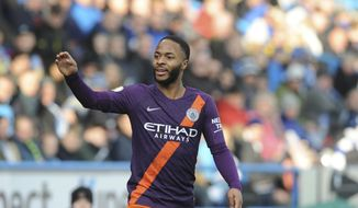 Manchester City's Raheem Sterling gestures during the English Premier League soccer match between Huddersfield Town and Manchester City at John Smith's stadium in Huddersfield, England, Sunday, Jan. 20, 2019. (AP Photo/Rui Vieira)