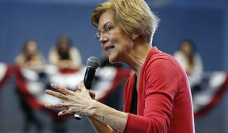 FILE - In this Jan. 12, 2019, file photo, Sen. Elizabeth Warren, D-Mass., speaks during an organizing event at Manchester Community College in Manchester, N.H. (AP Photo/Michael Dwyer)