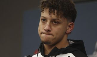 Kansas City Chiefs quarterback Patrick Mahomes pauses during a news conference after the AFC Championship NFL football game against the New England Patriots, Sunday, Jan. 20, 2019, in Kansas City, Mo. (AP Photo/Jeff Roberson)
