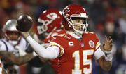 Kansas City Chiefs quarterback Patrick Mahomes (15) throws a pass during the second half of the AFC Championship NFL football game against the New England Patriots, Sunday, Jan. 20, 2019, in Kansas City, Mo. (AP Photo/Charlie Neibergall) ** FILE **