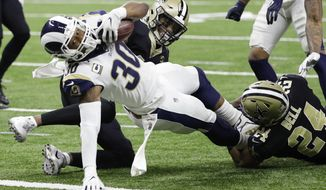 Los Angeles Rams' Todd Gurley dives into the end zone for a touchdown during the first half the NFL football NFC championship game against the New Orleans Saints, Sunday, Jan. 20, 2019, in New Orleans. (AP Photo/David J. Phillip)