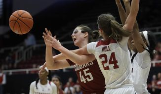 Washington State forward Borislava Hristova (45) passes away from Stanford's Lacie Hull (24) and DiJonai Carrington, right, during the first half of an NCAA college basketball game Sunday, Jan. 20, 2019, in Stanford, Calif. (AP Photo/Ben Margot)