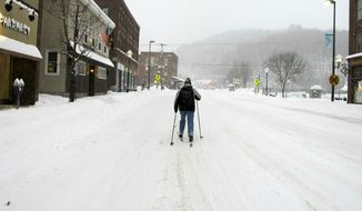 Bill Moore cross-country skis down a street on Sunday, Jan. 20, 2019, in Montpelier, Vt. A major winter storm that blanketed most of the Midwest with snow earlier in the weekend barreled toward New England Sunday, where it was expected to cause transportation havoc ranging from slick and clogged roads to hundreds of cancelled airline flights. (AP Photo/Lisa Rathke)
