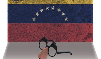 Illustration on the suppression of comedy in Venezuela by Alexander Hunter/The Washington Times