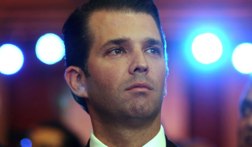 In this Friday, Feb. 23, 2018, file photo, Donald Trump Jr, the eldest son of U.S. President Donald Trump, speaks at a Global Business Summit in New Delhi. (AP Photo/Manish Swarup, File) **FILE**