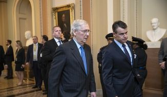 Senate Majority Leader Mitch McConnell, R-Ky., joined by Sen. Todd Young, R-Ind., right, walk to a meeting with fellow Republicans at the Capitol in Washington, Tuesday, Nov. 27, 2018. (AP Photo/J. Scott Applewhite) **FILE**