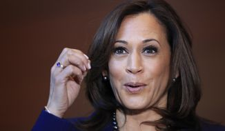 "Sen. Kamala Harris, D-Calif., speaks to members of the media at her alma mater, Howard University, Monday, Jan. 21, 2019 in Washington, following her announcement earlier in the morning that she will run for president. Harris, a first-term senator and former California attorney general known for her rigorous questioning of President Donald Trump's nominees, entered the Democratic presidential race on Monday. Vowing to ""bring our voices together,"" Harris would be the first woman to hold the presidency and the second African-American if she succeeds. (AP Photo/Manuel Balce Ceneta)"
