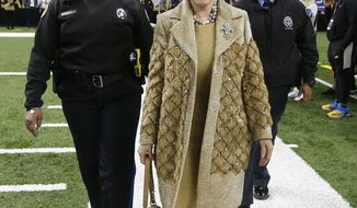 New Orleans Saints owner Gayle Benson arrives before the NFL football NFC championship game against the Los Angeles Rams, Sunday, Jan. 20, 2019, in New Orleans. (AP Photo/Gerald Herbert)