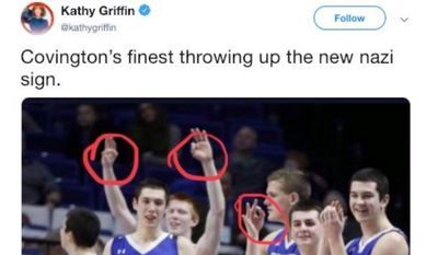 "Comedian Kathy Griffin claims in a Jan. 22, 2019 that Covington Catholic High School athletes are flashing a ""Nazi sign"" at a basketball game. The display, however, is an acknowledgment that a three-point basket has been made. (Image: Twitter, Kathy Griffin)"