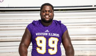Western Illinois defensive tackle Khalen Saunders is a prospect for the 2019 NFL Draft. Saunders is 320 pounds, and a video of him doing a backflip went viral in January 2019. (Photo courtesy of Western Illinois Athletics)