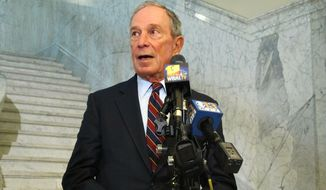 Former New York City Mayor Michael Bloomberg, who is considering running for president in 2020, talks to reporters after meeting with state legislators to discuss gun-control initiatives in Annapolis, Md., Tuesday, Jan. 22, 2019. (AP Photo/Brian Witte)