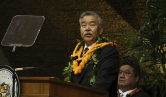 Gov. David Ige speaks during his state of the state address at the Hawaii State Capitol in Honolulu on Tuesday, Jan. 22, 2019. Gov. David Ige wants to create universal public preschool in Hawaii by making elementary schools pre-kindergarten through fifth grade instead of the current kindergarten through grade six. (AP Photo/Audrey McAvoy)