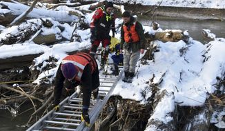 In this Monday, Jan. 21, 2019 photo released by the Indianapolis Fire Department, authorities rescue two young people who were stranded on a pile of logs after falling into an in an icy creek at an Indianapolis-area park. The Fire Department responded Monday to Southeastway Park and found a 17-year-old boy and an 18-year-old man on the log pile in Buck Creek about 21 feet from land. They used a ladder to bridge the gap and brought them life vests and blankets. The young people were returned to land and checked out at the scene. (The Indianapolis Fire Department via AP)