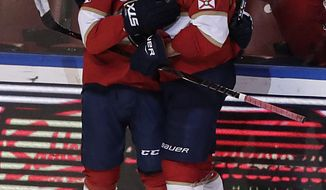 Florida Panthers center Vincent Trocheck, left, Florida Panthers defenseman Aaron Ekblad celebrate a Trocheck scoring a point during the third period of an NHL hockey game against the San Jose Sharks, Monday, Jan. 21, 2019, in Sunrise, Fla. (AP Photo/Brynn Anderson)