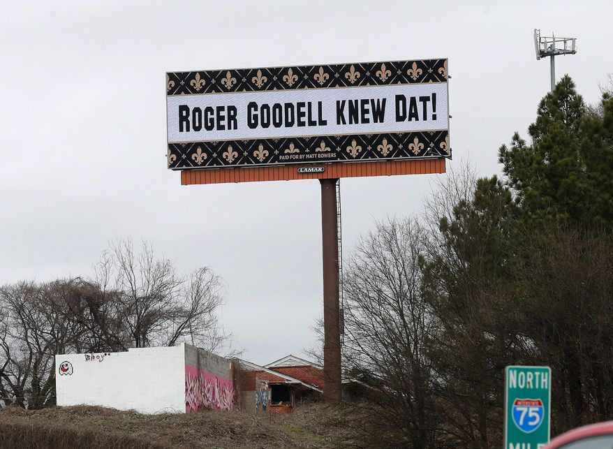 A billboard protesting a controversial call in Sunday's NFL football game between the New Orleans Saints and Los Angeles Rams is shown along I75 near Hartsfield Jackson Atlanta International Airport in Atlanta Tuesday, Jan. 22, 2019. (AP Photo/John Bazemore)