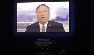 U.S. Secretary of State Mike Pompeo speaks through live video conference at the annual meeting of the World Economic Forum in Davos, Switzerland, Tuesday, Jan. 22, 2019. (AP Photo/Markus Schreiber)