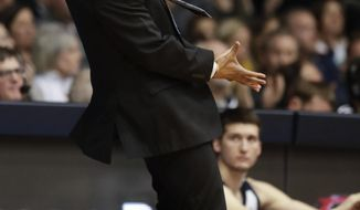 Butler head coach LaVall Jordan gestures in the first half of an NCAA college basketball game against Villanova in Indianapolis, Tuesday, Jan. 22, 2019. (AP Photo/Michael Conroy)