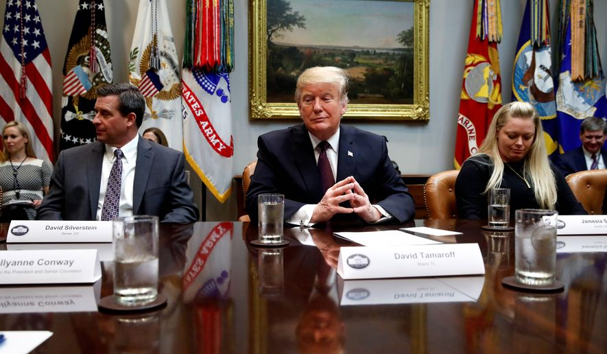 """""""We have to have a wall,"""" said President Trump during an afternoon meeting Wednesday. Mr. Trump also said that congressional Democrats who are refusing his border wall funding demands """"have become a very dangerous party for this country."""" (ASSOCIATED PRESS)"""