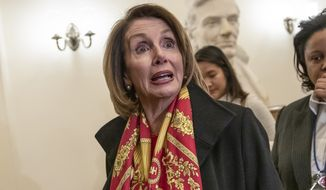 Speaker of the House Nancy Pelosi, D-Calif., responds to reporters after officially postponing President Donald Trump's State of the Union address until the government is fully reopened, at the Capitol in Washington, Wednesday, Jan. 23, 2019. The California Democrat told Trump in a letter Wednesday the Democratic-controlled House won't pass the required measure for him to give the nationally televised speech from the House floor. (AP Photo/J. Scott Applewhite)