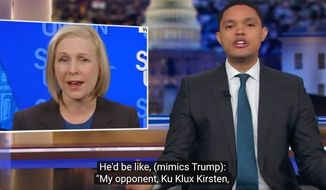 "Comedian Trevor Noah of ""The Daily Show"" discusses past policy positions of New York Sen. Kirsten Gillibrand, Jan. 22, 2019. (Image: Comedy Central, ""The Daily Show"" screenshot)"