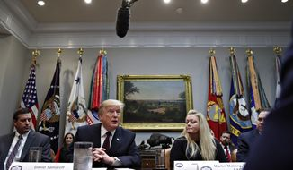 President Donald Trump speaks during a healthcare roundtable in the Roosevelt Room of the White House, Wednesday, Jan. 23, 2019, in Washington. At left of the president is David Silverstein, of Denver, and right is Jamesia Shutt, of Aurora, Colo. (AP Photo/Jacquelyn Martin)