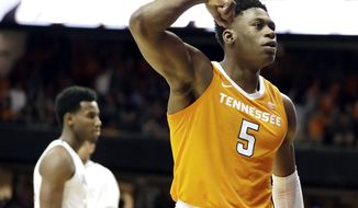 Tennessee guard Admiral Schofield (5) celebrates after a score against Vanderbilt in overtime of an NCAA college basketball game Wednesday, Jan. 23, 2019, in Nashville, Tenn. Tennessee won 88-83. (AP Photo/Mark Humphrey)