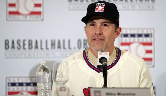 Baseball Hall of Fame inductee Mike Mussina speaks during news conference Wednesday, Jan. 23, 2019, in New York. (AP Photo/Frank Franklin II) **FILE**