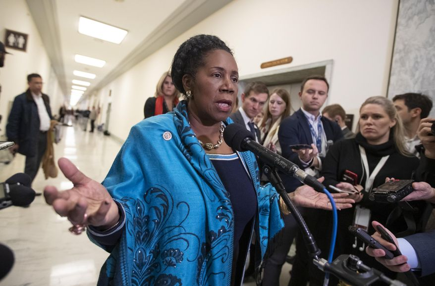 In this Dec. 7, 2018, file photo, Rep. Sheila Jackson Lee, D-Texas, a member of the House Judiciary Committee, speaks to reporters on Capitol Hill in Washington. (AP Photo/J. Scott Applewhite, File)