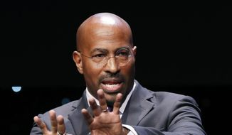 Van Jones speaks to participants at the launch of a partnership among entrepreneurs, entertainment moguls, recording artists, and business and sports leaders who hope to transform the American criminal justice system, Wednesday, Jan. 23, 2019, in New York. (AP Photo/Kathy Willens) ** FILE **