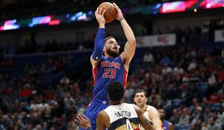 Detroit Pistons forward Blake Griffin (23) goes to the basket against New Orleans Pelicans guard Elfrid Payton (4) in the first half of an NBA basketball game in New Orleans, Wednesday, Jan. 23, 2019. (AP Photo/Gerald Herbert)
