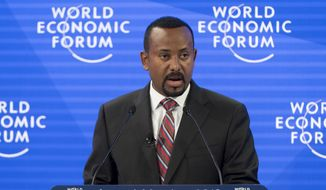 Ethiopian Prime Minister Abiy Ahmed Ali speaks during a panel session during the 49th Annual Meeting of the World Economic Forum, WEF, in Davos, Switzerland, Wednesday, Jan. 23, 2019. (Laurent Gillieron/Keystone via AP) ** FILE **