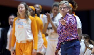 FILE - In the Jan. 19, 2019, file photo, Tennessee head coach Holly Warlick directs players during an NCAA basketball game against Kentucky in Knoxville. The Lady Volunteers (12-6) have dropped five straight games and have fallen out of the Top 25 as they prepare to host No. 1 Notre Dame (18-1) on Thursday. If the Lady Vols don't turn things around soon, they'll be at risk of missing the NCAA Tournament for the first time in that event's 38-year history. (AP Photo/Bryan Woolston, File)