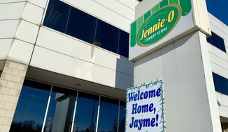 "FILE - In this Jan. 16, 2019 file photo, a ""Welcome Home, Jayme!"" sign is shown in front of the Jennie-O Turkey Store in Barron, Wis., where her parents, James and Denise Closs, worked. Hormel Foods and Jennie-O say they'll donate the $25,000 it had offered in reward money for information leading to Jayme Closs directly to the 13-year-old girl. Jayme was kidnapped from her home in Barron, Wisconsin, on Oct. 15 and both of her parents were killed. . She escaped 88 days later. Twenty-one -year-old Jake Patterson is charged with kidnapping and homicide. (AP Photo/Jeff Baenen)"