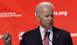 Former Vice President Joe Biden speaks during the U.S. Conference of Mayors Annual Winter Meeting in Washington, Thursday, Jan. 24, 2019. (AP Photo/Jose Luis Magana) ** FILE **