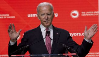 Former Vice President Joe Biden speaks during the U.S. Conference of Mayors Annual Winter Meeting in Washington, Thursday, Jan. 24, 2019. (AP Photo/Jose Luis Magana)