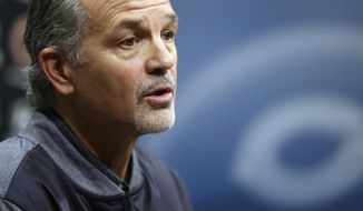 Chicago Bears new NFL football defensive coordinator Chuck Pagano speaks at a press conference at Halas Hall in Lake Forest, Ill., Thursday, Jan., 24, 2019.  (Brian Cassella/Chicago Tribune via AP)