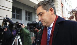 In this Nov. 14, 2018, photo, CNN's Jim Acosta walks into federal court in Washington. (AP Photo/Manuel Balce Ceneta) ** FILE **