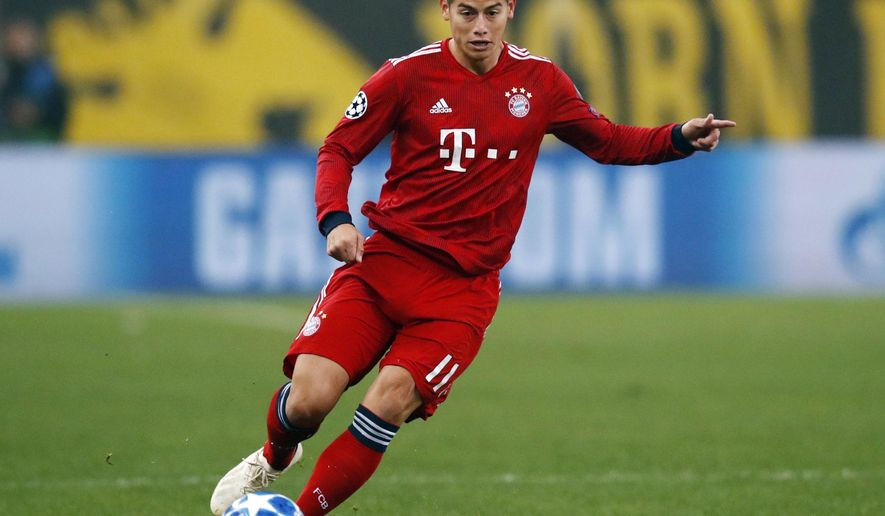 FILE---In this picture taken Oct. 23, 2018 Bayern midfielder James David James Rodriguez controls the ball during a Group E Champions League soccer match between AEK Athens and Bayern Munich at the Olympic Stadium in Athens. (AP Photo/Thanassis Stavrakis)