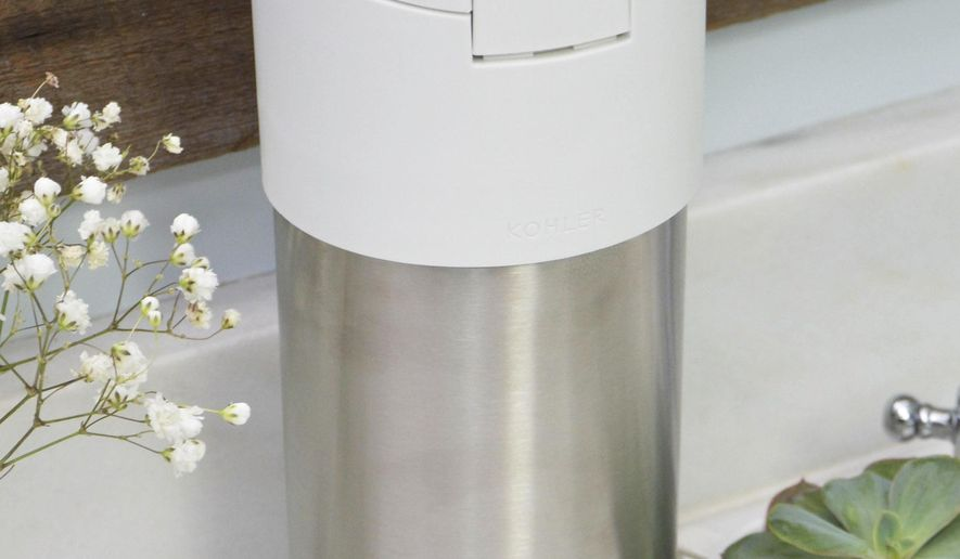 This photo shows Clorox's stainless steel wipe container designed for use with Loop. The new shopping platform announced at the World Economic Forum aims to change the way people buy many products, from food to personal-care and home products. Loop would do away with disposable containers for some name-brand products, including some shampoos and laundry detergents. Instead, those products would be delivered in sleek, reusable containers that will be picked up at your door, washed and refilled. (Dara Rackley/TerraCycle via AP)