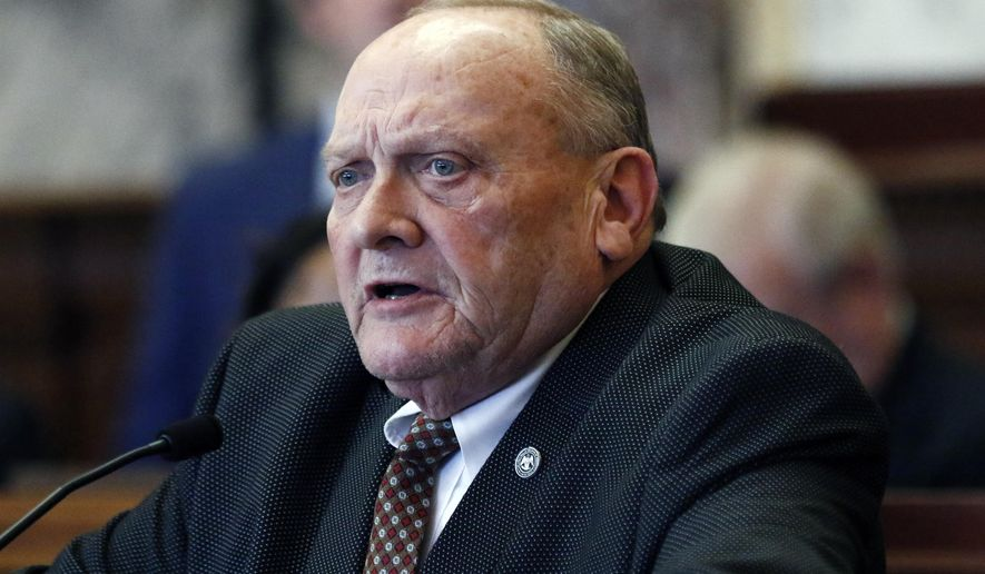 In this Jan. 8, 2019 photo, Republican Terry Burton of Newton, then president pro tempore of the Mississippi Senate, tells the body he is resigning his leadership role, weeks after being charged with second-offense drunken driving, at the Capitol in Jackson, Miss. According to Lt. Gov. Tate Reeves, Burton suffered a stroke and was hospitalized Thursday, Jan. 24, 2019. Burton previously said he will remain in the 52-member Senate this year but will not seek another four-year term in office. (AP Photo/Rogelio V. Solis)
