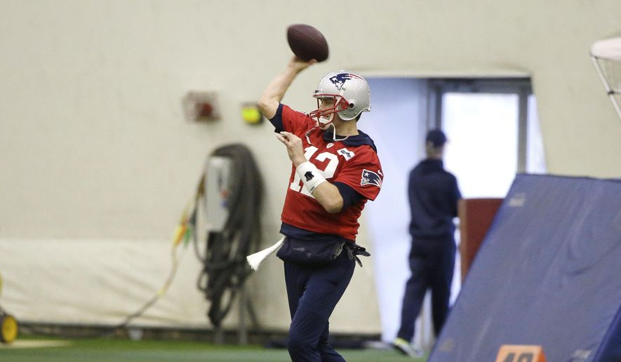 New England Patriots quarterback Tom Brady (12) warms up during an NFL football practice, Thursday, Jan. 24, 2019, in Foxborough, Mass. The Los Angeles Rams are to play the New England Patriots in Super Bowl 53 on Feb. 3, in Atlanta, Ga. (AP Photo/Steven Senne)