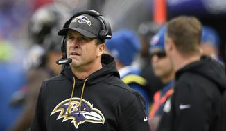 FILE - In this  Sunday, Nov. 18, 2018 file photo, Baltimore Ravens head coach John Harbaugh walks on the sideline in the first half of an NFL football game against the Cincinnati Bengals in Baltimore. Ravens coach John Harbaugh has received a new four-year contract following a season in which he guided Baltimore to the AFC North title. The new deal is designed to keep the winningest coach in Ravens history under contract through the 2022 season. It replaces a pact that was slated to end after next year. (AP Photo/Nick Wass, File) **FILE**