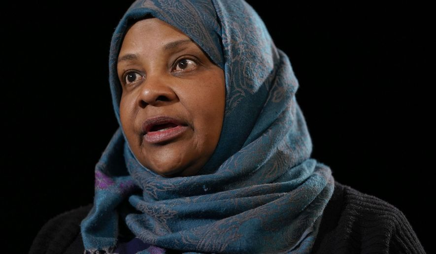 Marzieh Hashemi, a prominent American-born television anchorwoman for Iran's state television, who was detained for 10 days as material witness in a grand jury investigation, speaks during a interview with the Associated Press in Washington, Thursday, Jan. 24, 2019. (AP Photo/Pablo Martinez Monsivais)